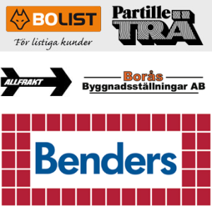 Våra partners: Benders AB, Ståhl & Stöm's Byggnadsplåt AB, Borås Byggnadsställningar AB, Partille Trä AB, Allfrakt AB